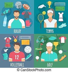 golf, icone, rugby, pallavolo, tennis, sport