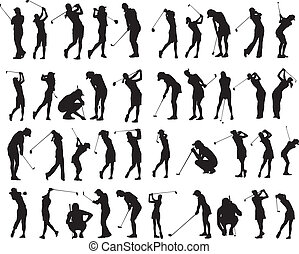 golf, pose, silhouette, 40, femmina