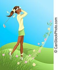 golfista, donna, fiore, oscillazione, fuori