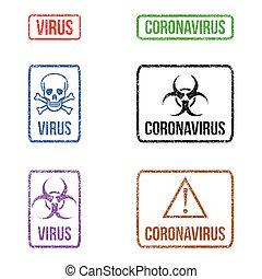 gomma, biohazard, francobolli, variopinto, grunge, set, vettore