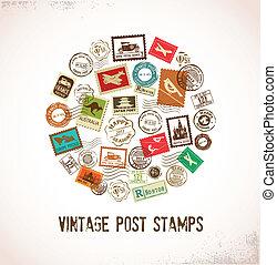 gomma, vendemmia, francobolli, vettore, fondo