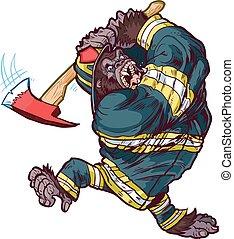 gorilla, pompiere, oscillazione, ascia