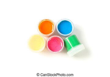gouache, colorare, cima, isolato, vernice, fondo, lattine, bianco, vista