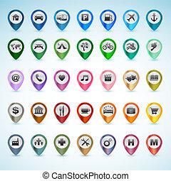 gps, set, icone
