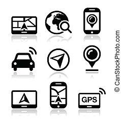 gps, viaggiare, vettore, navigazione, icone