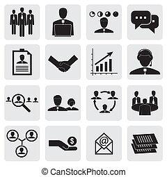 gr, ufficio, &, persone, business-, vettore, concetti, icons(signs)