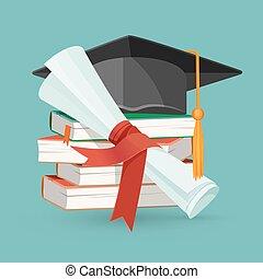 grado, berretto, graduazione, libri, mucchio, nero, rotolo