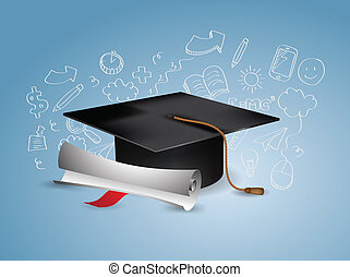 grado, berretto, -, graduazione, nero, doodles