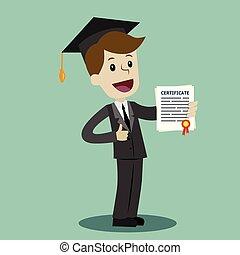 grado, scuola, certificato, university., affari, diploma, università, completo, presa, o, uomo