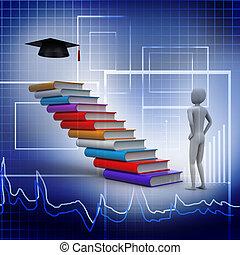 graduati, libri, 3d, laureato