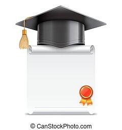 graduazione, rotolo, berretto, diploma