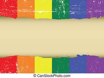 graffiato, arcobaleno, bandiera, gaio