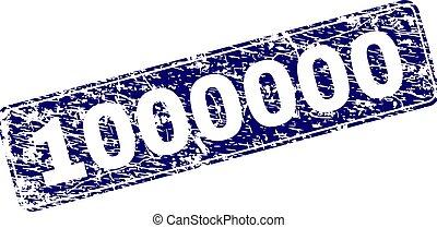 graffiato, arrotondato, francobollo, 1000000, incorniciato, rettangolo
