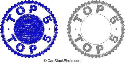 graffiato, grunge, cima, 5, francobolli