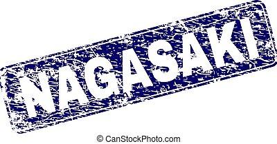 graffiato, nagasaki, arrotondato, francobollo, incorniciato, rettangolo