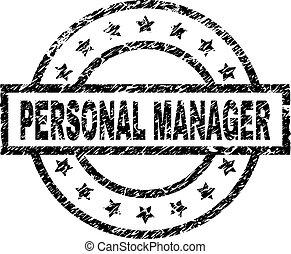 graffiato, personale, textured, francobollo, direttore, sigillo