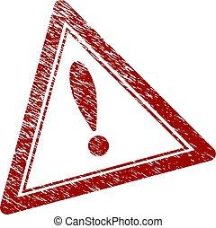 graffiato, triangolo, francobollo, textured, avvertimento, sigillo