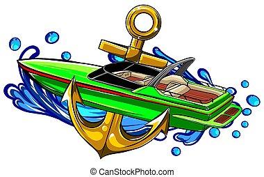 grafica, pronto, vettore, illustrazione, barca, vinile, striscia