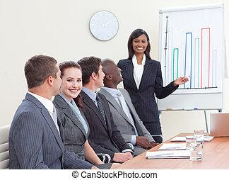 grafici, donna d'affari, finanza, segnalazione, indiano