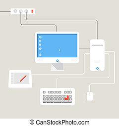 grafici, grafico, posto lavora, interno, place.