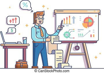 grafici, mostra, tabelle, analista affari