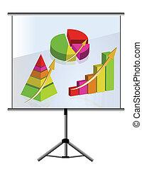grafici, set, presentazione