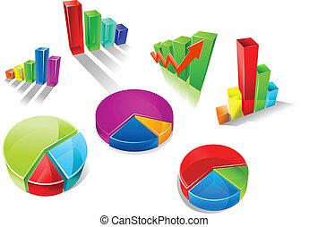 grafici, set, tabelle, colorito, 3d