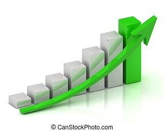 grafico, affari, barre, crescita, verde, freccia