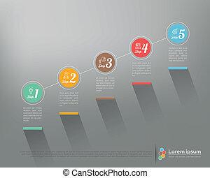 grafico, affari, moderno, passo, vettore, disegno, sagoma, infographics, opzioni