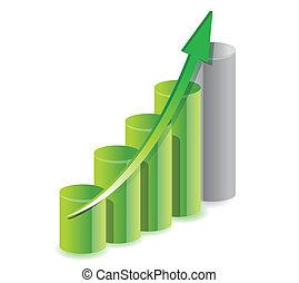 grafico, affari verdi, illustrazione
