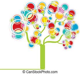 grafico, albero, colorito