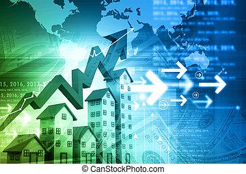 grafico, alloggio, mercato