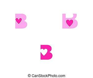 grafico, amore, marcare caldo, iniziale, elemento, vettore, disegno, lettera, logotipo, set, b