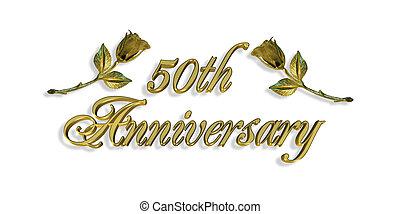 grafico, anniversario, 50th, invito