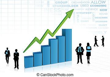 grafico, aorund, sbarra, persone affari