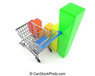 grafico, carrello, shopping