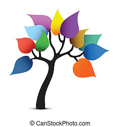 grafico, colorare, albero, fantasia, vettore, design.