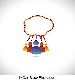 grafico, colorito, parlare, persone, ciarlare, communicating.
