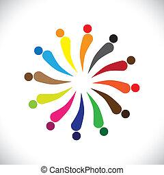 grafico, colorito, persone, astratto, vettore, circle-, felice