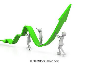grafico, crescente, affari persone