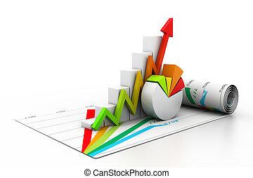 grafico, crescita, affari, 3d
