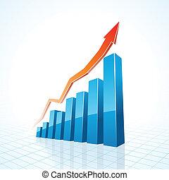 grafico, crescita affari, sbarra, 3d