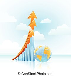 grafico, crescita, globale, vettore, sbarra