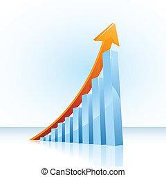 grafico, crescita, sbarra, affari