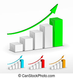 grafico, crescita, set
