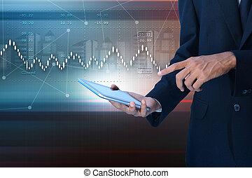grafico, crescita, vendite, mercato, casato