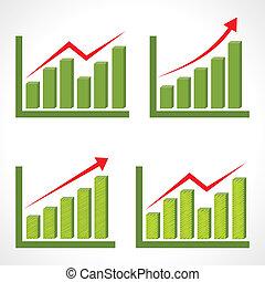 grafico, differente, set, affari