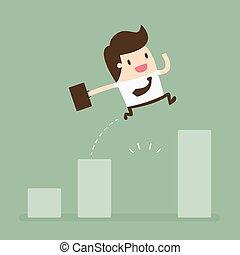 grafico, divario, salto, crescita, attraverso, uomo affari