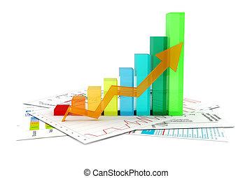 grafico, documenti, affari, 3d