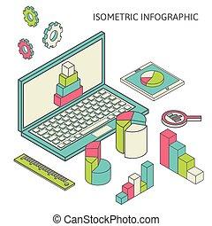 grafico, finanza, affari, analytics, isometrico, grafico